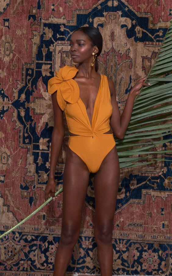 April Pinterest: Top 10 Pins - Mustard Swimsuit Johanna Ortiz