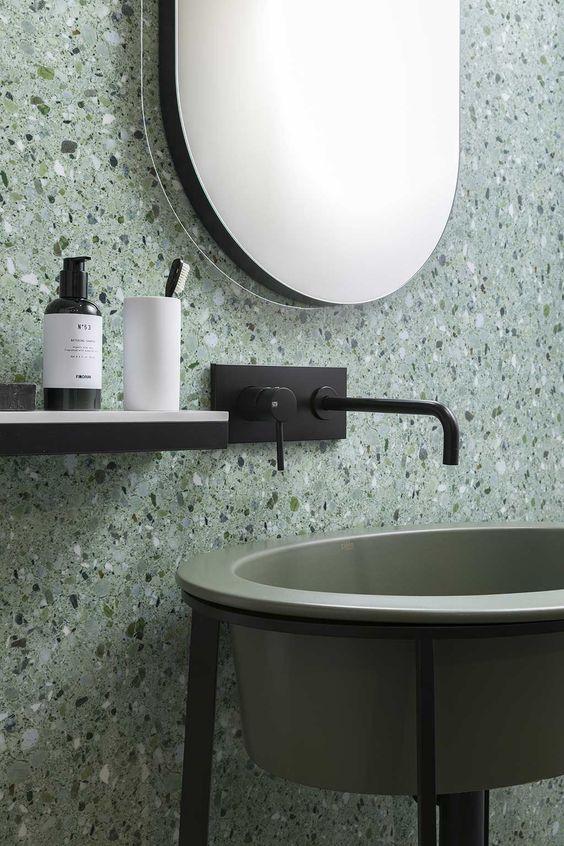 Terrazzo Still on Trend for 2019? - Green Modern Bathroom