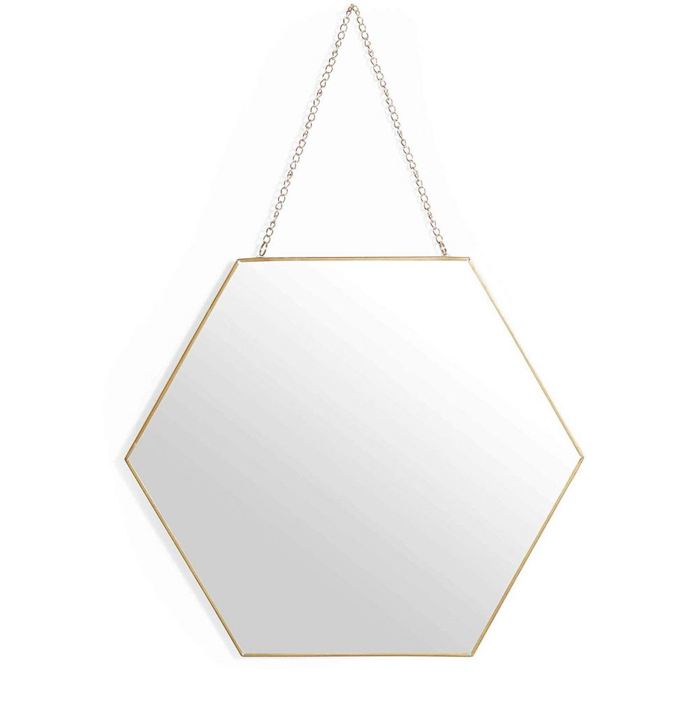 Hexagon Brass Slimline Mirror