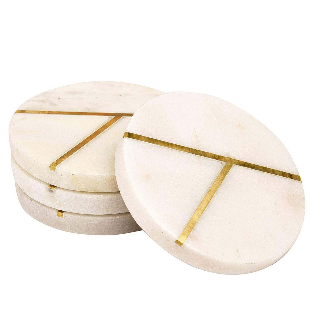 Marble coaster with brass inlay