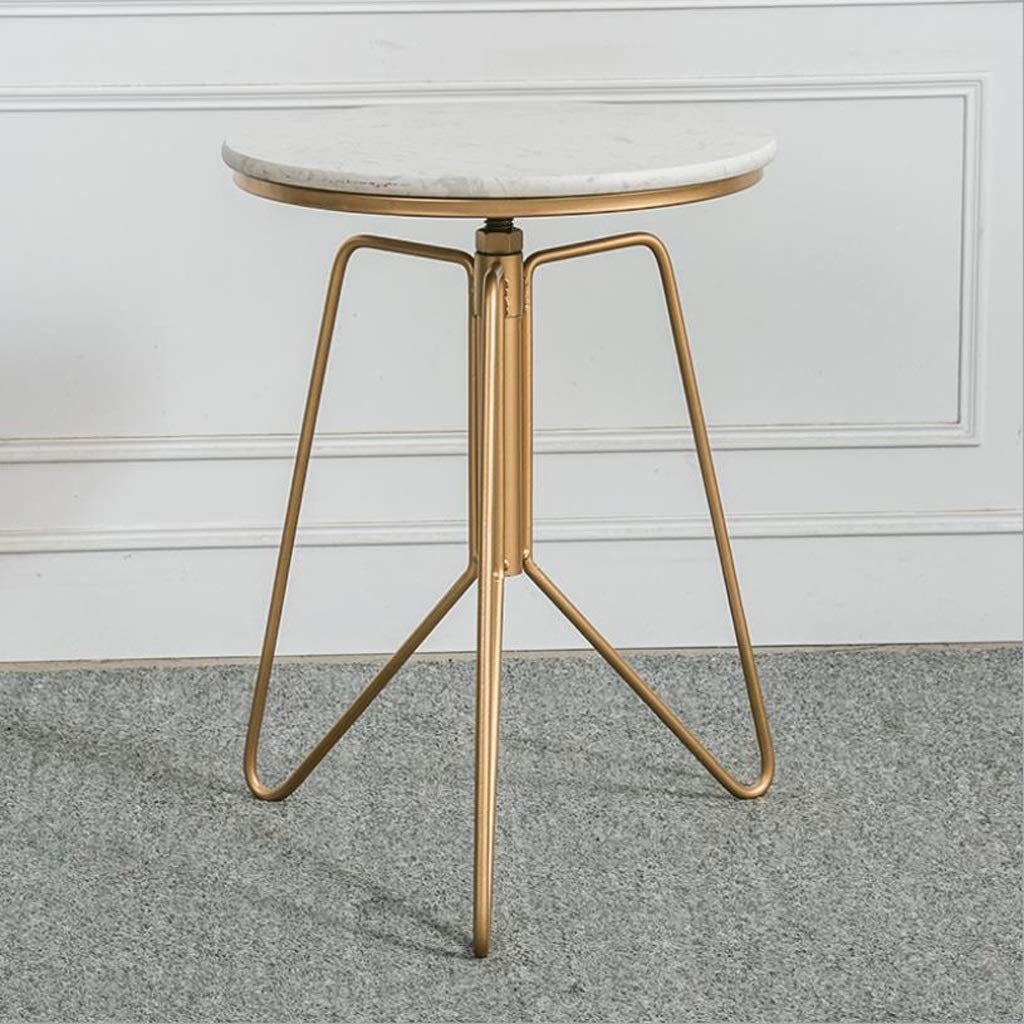 Marble Top Brass Adjustable Side Table