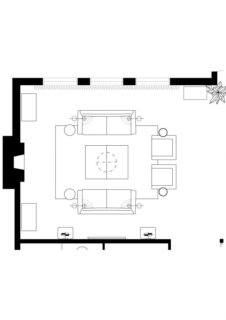 Symmetrical furniture living room layout Chloe Dominik Designs