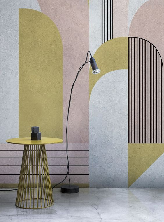 Abstract geometric blush and gold wallpaper London Art Wallpaper