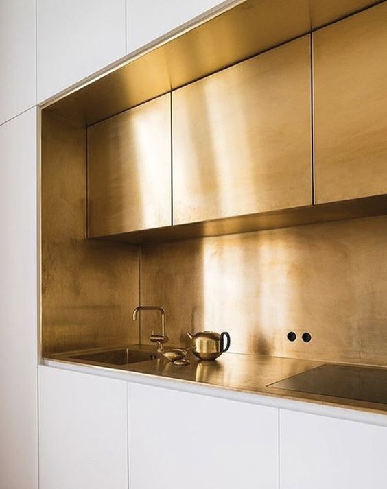 Polished gold brass kitchen counter hideaway
