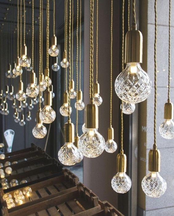 Lee Broom gold crystal cut light bulb