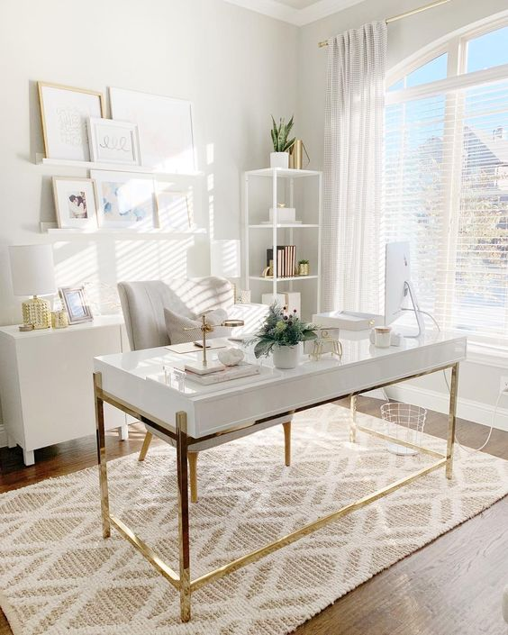 White & Gold Study Desk - 7 Cool Office Designs Based On The Success Feng Shui Principle: A beautiful white and gold study desk is the focal point for this light and airy home office. Desk is positioned in the success One of the principles for Feng Shui home office is the power position. @chloedominik #homeoffice #homeofficeideas #fengshuioffice #fengshuiofficedesk #fengshuiofficedecor