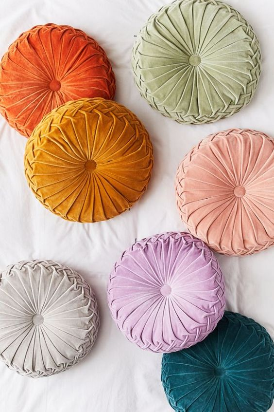 Fall Pinterest Favourite Pins - Round Pinterest Pin tuck Cushions from Urban Outfitters