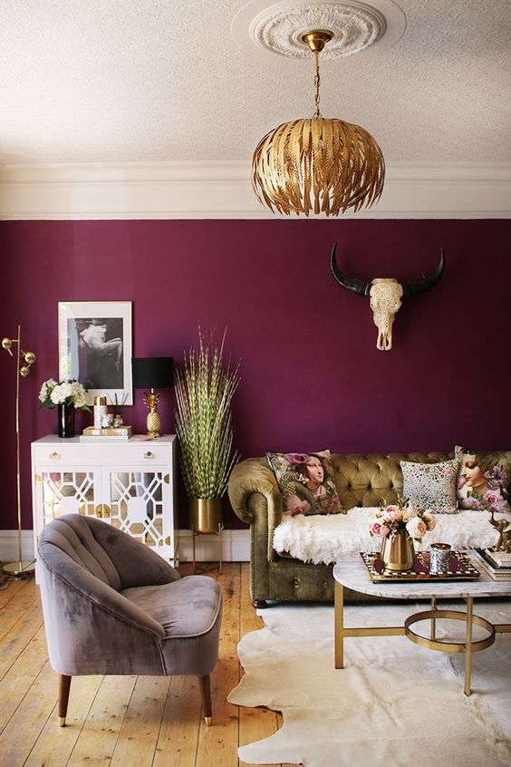 Moody Room Designs That You Will Love For The Winter Season - Rich Mulberry Painted Living Room
