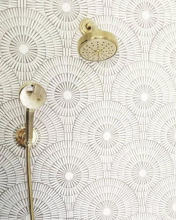 October Pinterest favs - White mosaic white circular tiles with brass shower fixture