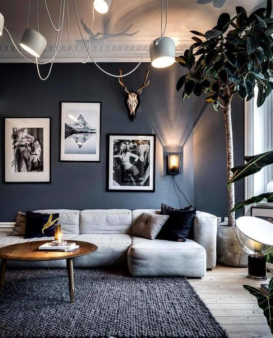Moody Room Designs That You Will Love For The Winter Season - Blue Living Room And White Washed Floors