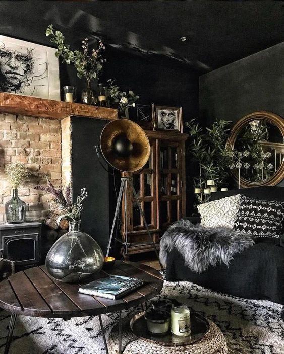 Moody Room Designs That You Will Love For The Winter Season - Maximalist Black Antiqued Living Room