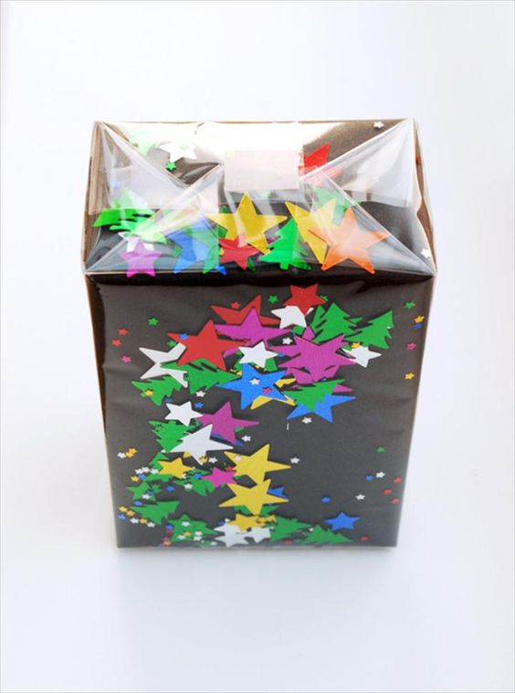 Confetti Gift Wrap - 20 Creative Ways To Gift Wrap Your Presents This Christmas: An interactive gift wrap using confetti to shake around in the clear cellophane wrap. @chloedominik wrappingideas #giftwrapping #giftwrappingideas #giftwrappinginspiration #christmaspresentideas #creativegiftwrapping