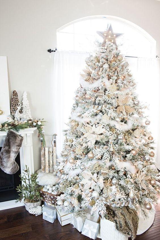 20 Gorgeous Christmas Tree Decoration Ideas - Maxilmalist White Feathery Tree