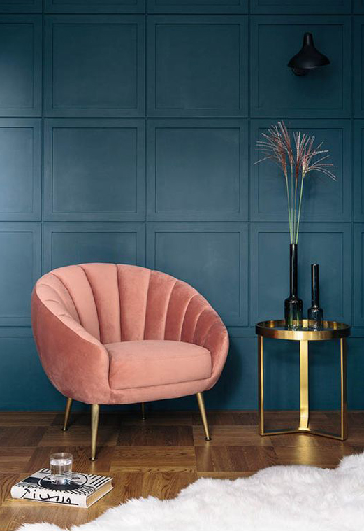 Art Deco Velvet Accent Chair -10 Interior 2020 Trends That Will Be Carrying On Next Year: A sumptuous curved art deco accent chair decked in velvet is the way to relax in ultimate comfort and definitely a trend that will be following through to next year. @chloedominik #curvedchair #curvedfurniture #artdecochair #2020interiordesigntrends #2021interiordesigntrends #velvetfurniture