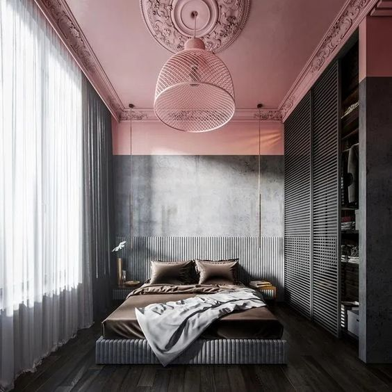 November Pinterest: Top 15 - Colour blocked pink ceiling and grey bedroom