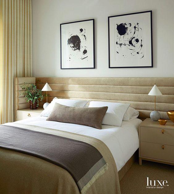 Velvet extra long headboard in bedroom