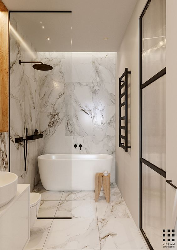 Amazing Wet Room Ideas: Top 12 - black fixtures and marble