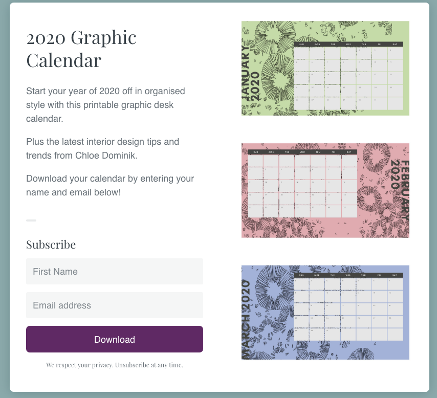 2020 Calendar Freebie And Favourites From 2019 - 2020 Desk calendar
