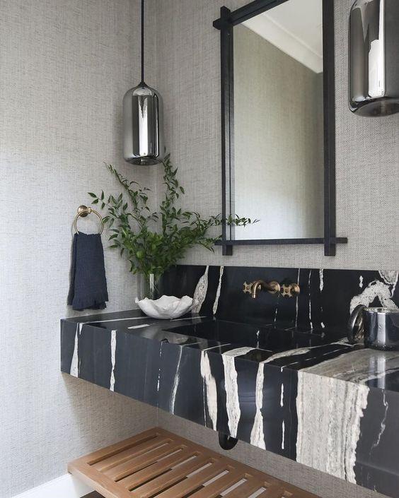 Neutral bathroom marble wash vanity