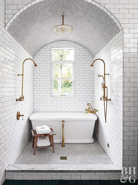 Amazing Wet Room Ideas: Top 12 - All white subway tile and gold fixtures