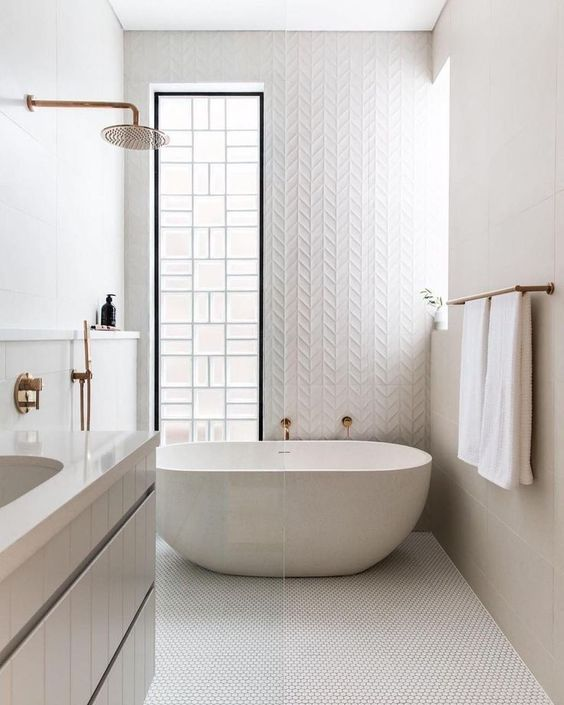 Amazing Wet Room Ideas: Top 12 - All white patterned