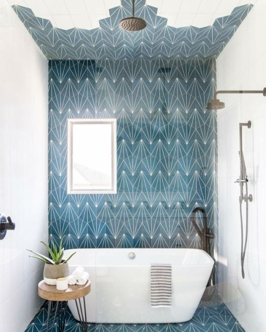 Amazing Wet Room Ideas: Top 12 - Teal tiled floor and ceiling