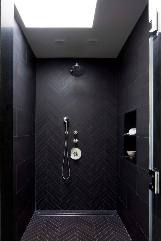 11 Beautiful Rooms For Black Interiors Inspiration - Black Tiled Shower Room