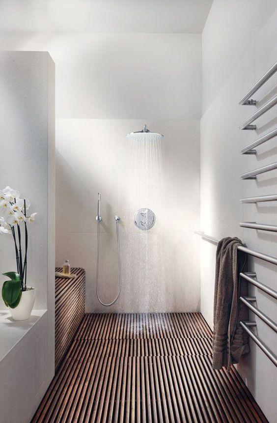 Wooden Slat Decked Area Bathroom