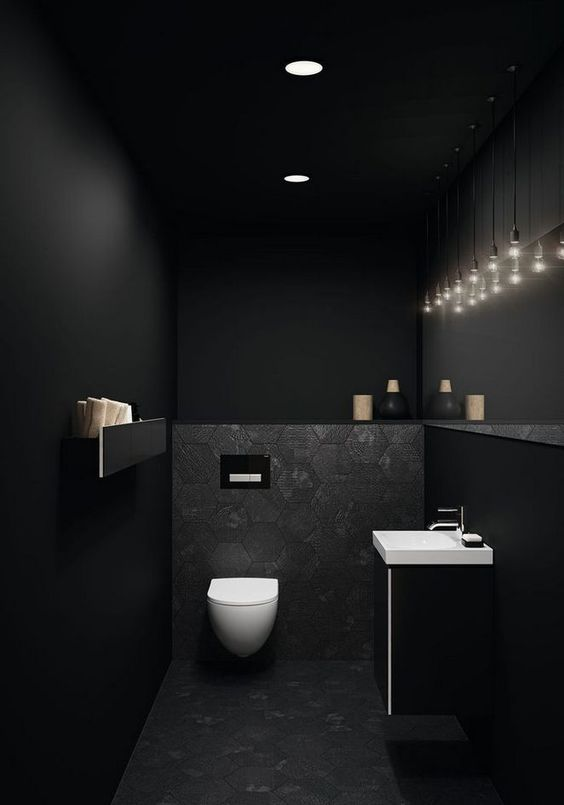 11 Beautiful Rooms For Black Interiors Inspiration - Black Powder Room