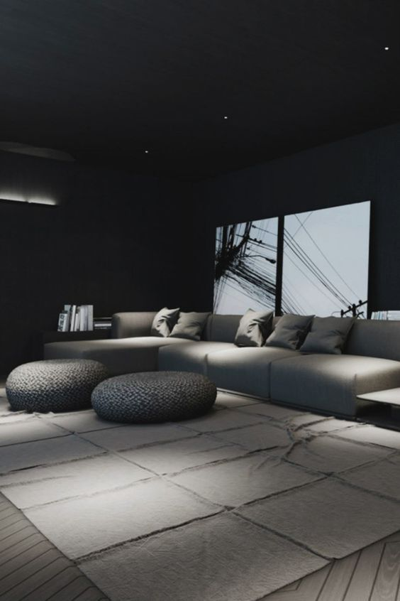 11 Beautiful Rooms For Black Interiors Inspiration - Black Home Theatre