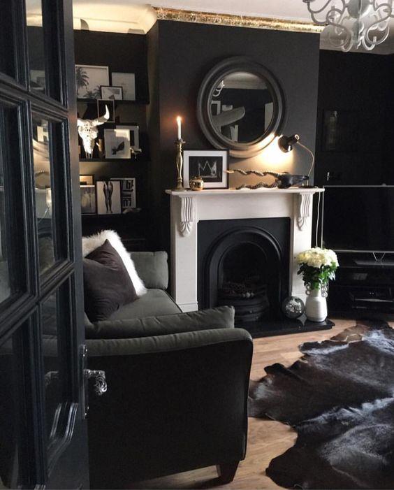 Black cozy living room interior