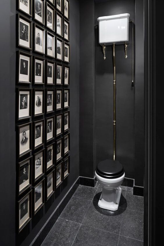 11 Beautiful Rooms For Black Interiors Inspiration - Black Powder Room with Gallery Wall