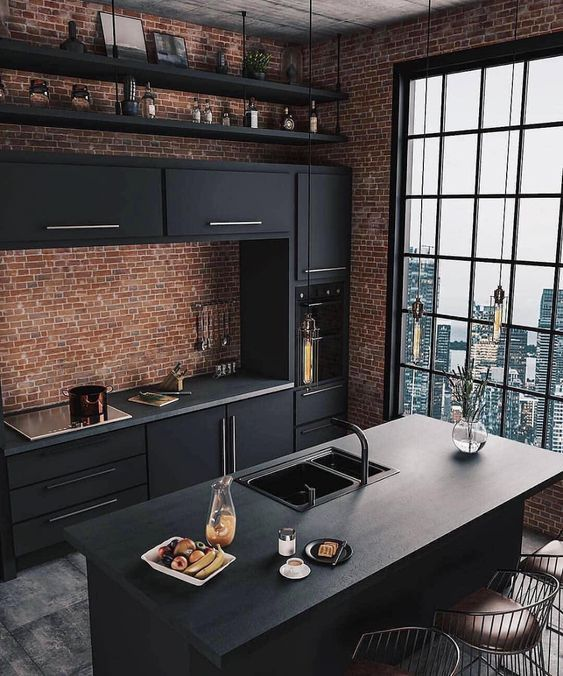 11 Beautiful Rooms For Black Interiors Inspiration - Stylish and Modern Black Kitchen