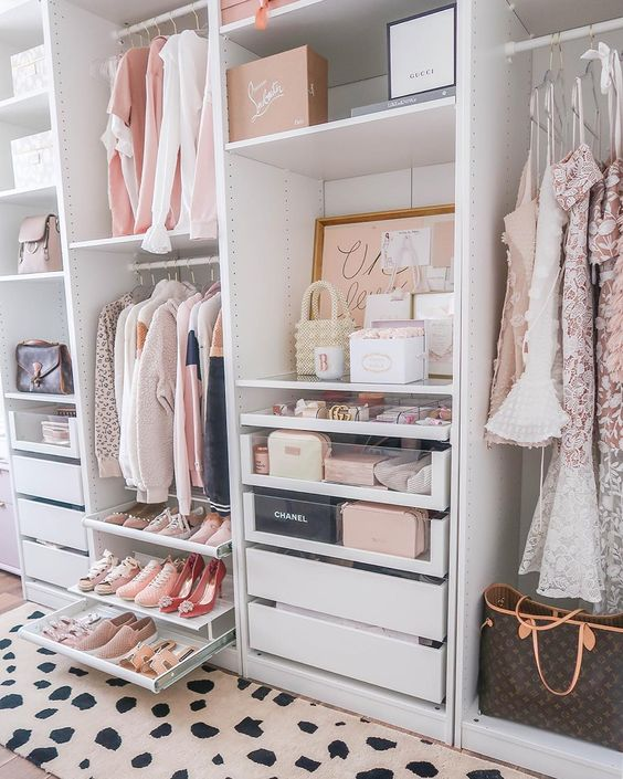 16 Stylish Wardrobe Ideas That Use The Ikea Pax - Blush and white
