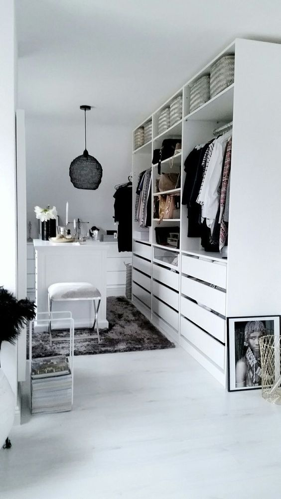 16 Stylish Wardrobe Ideas That Use The Ikea Pax - Black and white dressing room