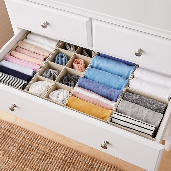 Closet Clean Out: How To Organise Your Closet - Organized drawer system for folded clothes
