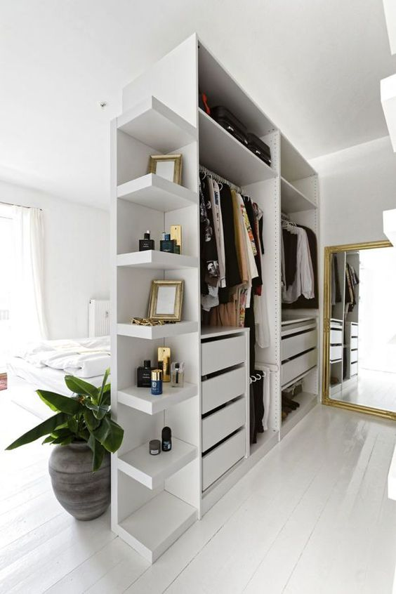 Ikea Pax Bedroom Divider - 9 Amazing Bedroom Divider Closet Ideas To Maximize Your Space: This bedroom design utilizes the bedroom space by using a combination of the Ikea Pax range as a bedroom divider to separate the sleeping area and the closet space turning in to a dressing room area. @chloedominik #bedroomdivider #bedroomdivisionideas  #bedroomdividerideas #bedroomclosetdividerideas #ikeapaxcloset #roomdividerideas