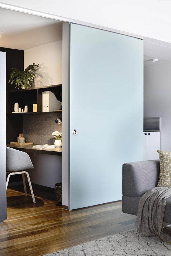 15 Interior Sliding Door Designs You'll Love - Blue Office Door