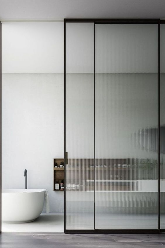 Floor To Ceiling Translucent Ribbed Glass