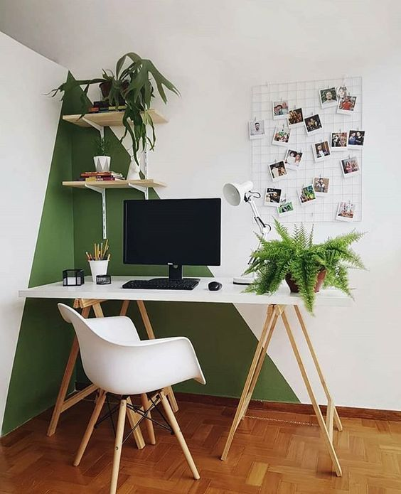 10 Tips To Create A Productive Home Office - Corner Colour Block Office