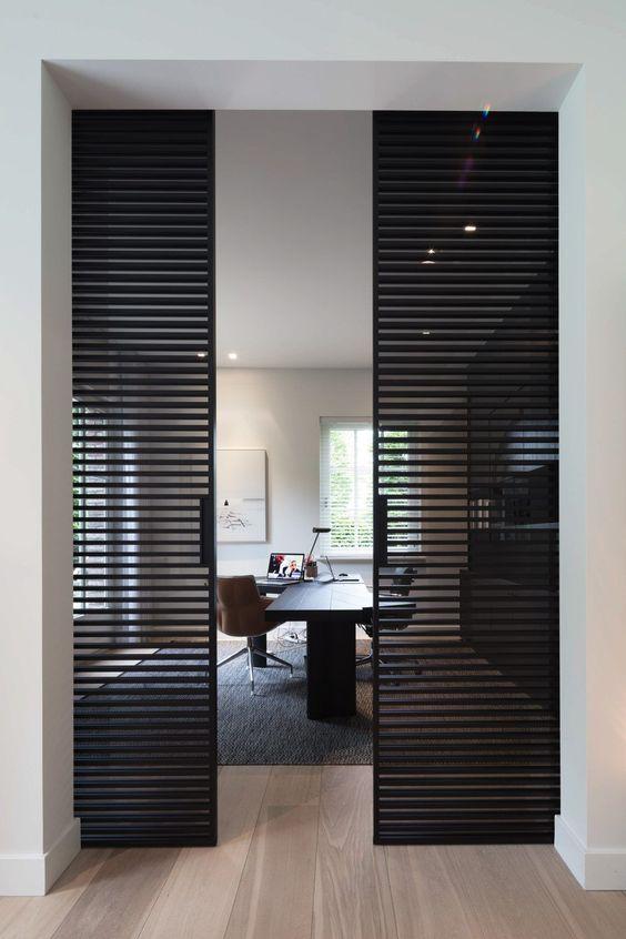 15 Interior Sliding Door Designs You'll Love - Modern Black Office Doors