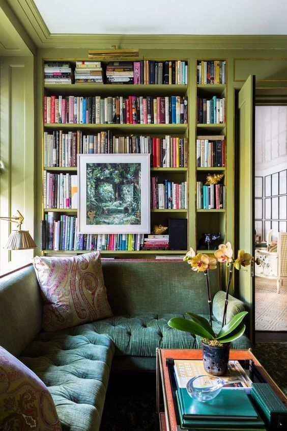 12 Inspiring Home Interior Reading Rooms - Bright coloured reading area