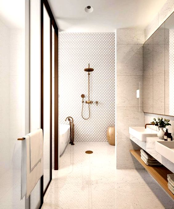 Anniversary Pinterest: Top 15 For Inspiration and Ideas - Beautiful white bathroom wet room