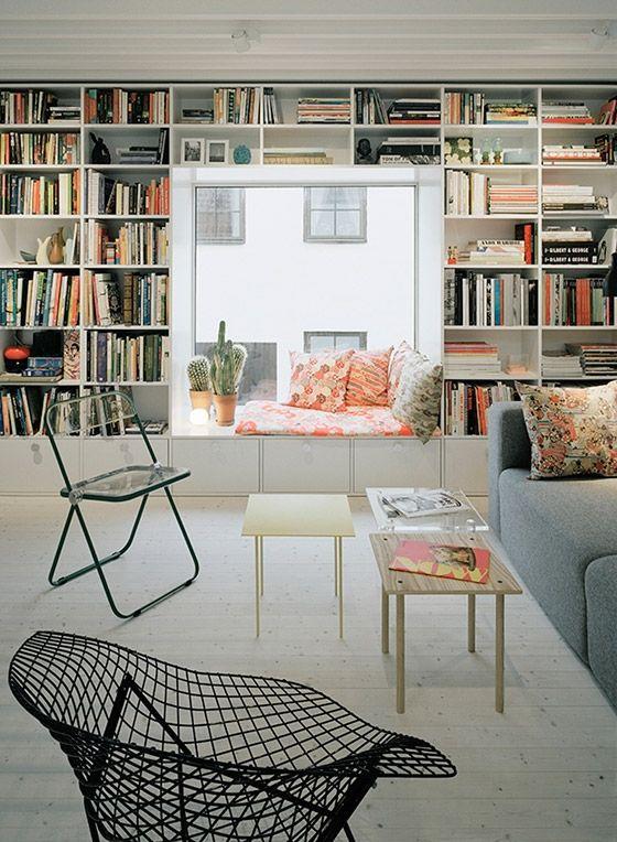12 Inspiring Home Interior Reading Rooms - Scandinavian style framed window seat