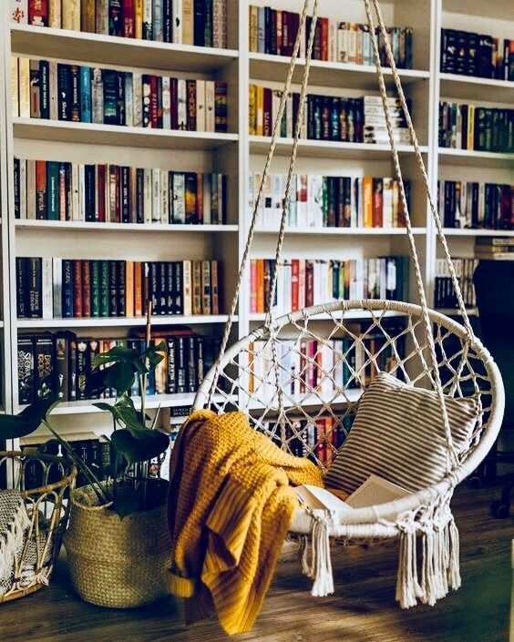 12 Inspiring Home Interior Reading Rooms - Ceiling Swing Chair