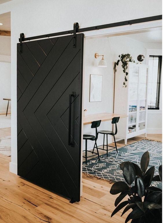 15 Interior Sliding Door Designs You'll Love - Black Barn Door Track