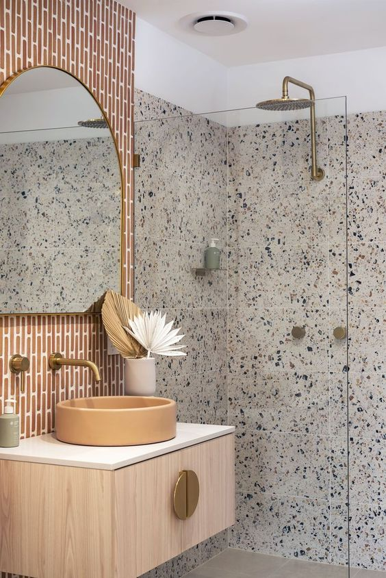 Anniversary Pinterest: Top 15 For Inspiration and Ideas - terrazzo shower  interior