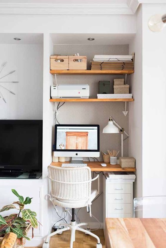 10 Tips To Create A Productive Home Office - Home Workstation Nook in Living Room