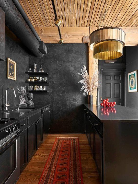 Dramatic bold black kitchen walls