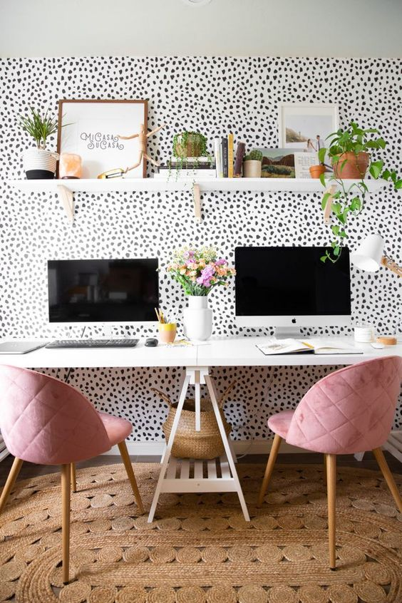 14 Inspiring Double Home Office Ideas - Dotty Patterned